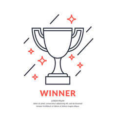 the champion cup linear figure sports trophy a vector image