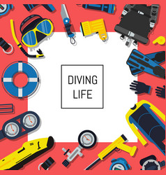 underwater diving equipment background with vector image vector image
