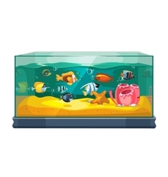 Cartoon freshwater fishes in tank aquarium vector image vector image