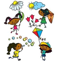 cute afroamerican girls characters vector image