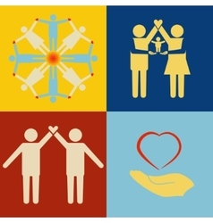 People support icon set vector image