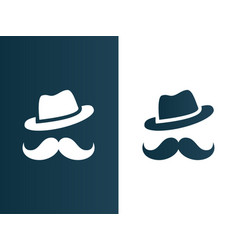 person hat and mustaches logo - isolated vector image vector image
