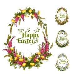 set of floral color eggs for Easter vector image vector image