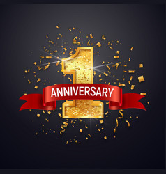 1 anniversary celebrating golden number with red vector image