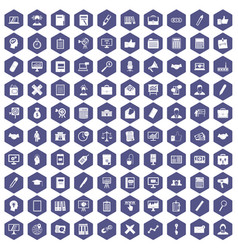 100 finance icons hexagon purple vector image vector image