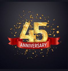 45 years anniversary logo template on dark vector image