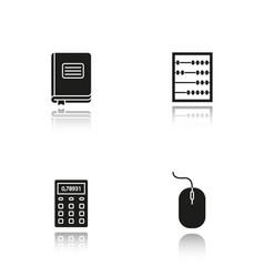 Accounting drop shadow black glyph icons set vector