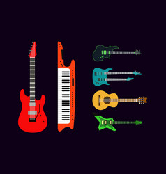 acoustic electric guitar icons set isolated vector image