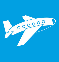 Airplane icon white vector