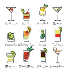 Alcohol cocktails linear icons vector image