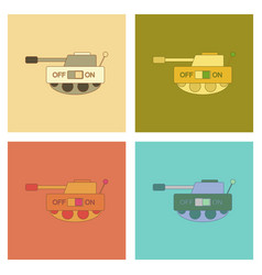 Assembly flat icons kids toy tank vector