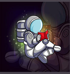 Astronaut reading book vector