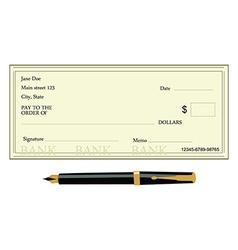 Bank check and pen vector
