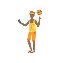 Basketball player taking pictures with photo vector