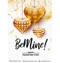 be mine love text and golden hearts on white vector image
