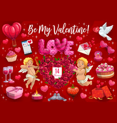 Be my valentine cupid angels and hearts vector