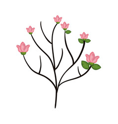 beautiful branch with flowers decoration icon vector image