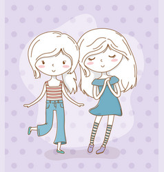 Beautiful little girls couple with pastel colors vector