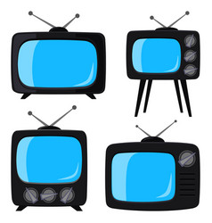 black cartoon various retro tv set vector image