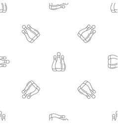 Bowling set pins pattern seamless vector