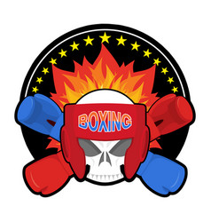 boxing logo sports emblem skull and boxing gloves vector image