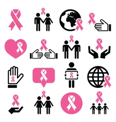 Breast cancer awareness pink ribbons icon set vector image