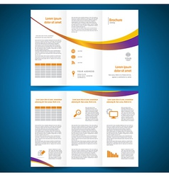 brochure folder leaflet color yellow line vector image