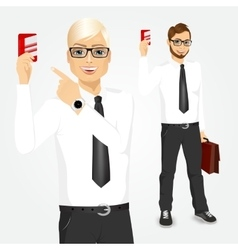 Businessman pointing at a credit card vector