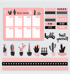 cacti weekly planner vector image