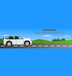 car driving road in nature over green landscape vector image