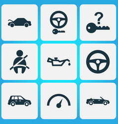 Car icons set with crossover oil pressure low vector