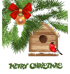 Christmas Birdhouse vector image