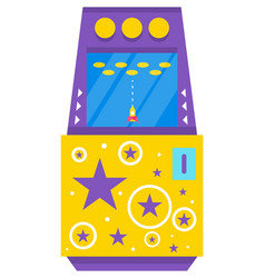 classic arcade game machine with rocket vector image