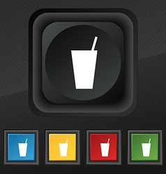 cocktail icon symbol Set of five colorful stylish vector image