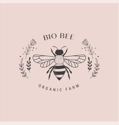 Collection of hand drawn bee organic honey logo vector
