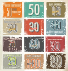 Collection of vintage retro grunge anniversary vector image