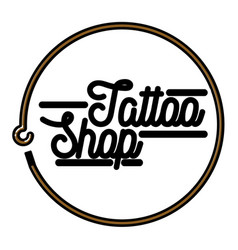 Color vintage tattoo shop emblem vector