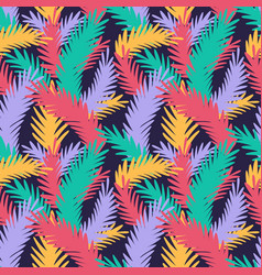 Colorful seamless pattern with tropical leaves vector