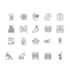 currency exchange line icons signs set vector image