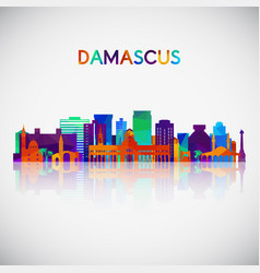 damascus skyline silhouette in colorful geometric vector image