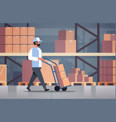 delivery man rolling cardboard box cargo trolley vector image