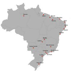 Detailed map brazil vector