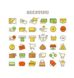 different shopping thin line color icons set vector image