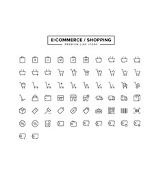 e-commerce shopping line icon set vector image
