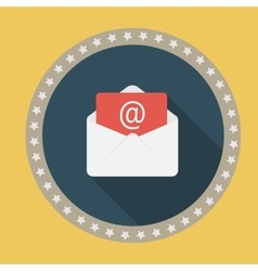 E-Mail Flat Icon with Long Shadow vector image