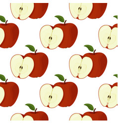 Fresh red apples seamless patter summer bright vector