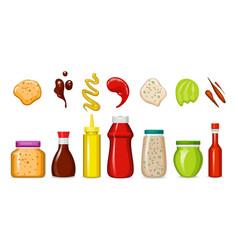 Gourmet sauces bottles vector