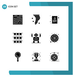 Group 9 modern solid glyphs set for buntings vector