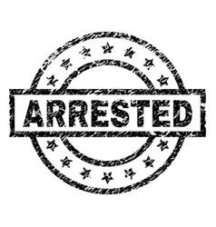 grunge textured arrested stamp seal vector image