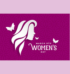 Happy womens day lovely purple banner design vector